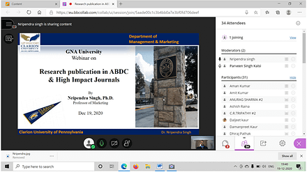 Virtual Webinar on Research publication in ABDC & High Impact Journals at GNA University