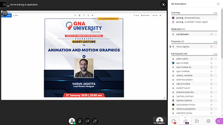 Advance Guest lecture on Animation and Motion Graphics